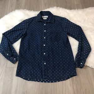 Madewell Polka Dot Dark Blue Button Up Shirt
